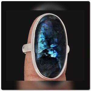 Gorgeous .925S Larvikite (Black Moonstone) Ring